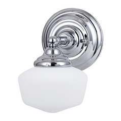 Schoolhouse Sconce Wall Light with White Glass in Chrome Finish