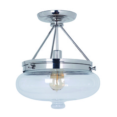 Jeremiah Yorktown Polished Nickel Semi-Flushmount Light