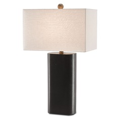 Currey and Company Ryburn Black/pyrite Bronze Table Lamp with Rectangle Shade
