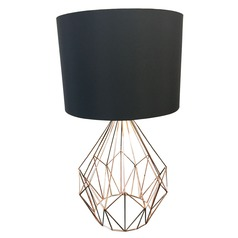 Eglo Pedregal 1 Matte Black Table Lamp with Drum Shade