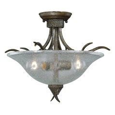 Seeded Glass Semi-Flushmount Light Bronze Vaxcel Lighting