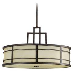 Modern Drum Pendant Light with Amber Glass in Grecian Bronze Finish
