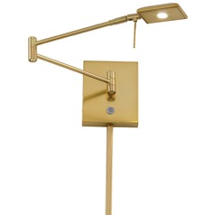 Modern LED Swing Arm Lamp in Honey Gold Finish
