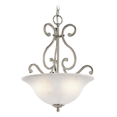 Kichler Pendant Light with White Glass in Brushed Nickel Finish
