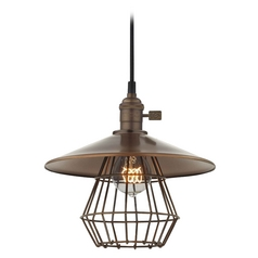Design Classics Lighting Retro Hoyt Bronze Cone Shade Mini-Pendant Light With Cage  CA1-220 SHD2-220 CAGE1-220