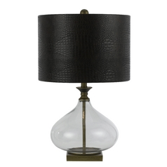 Table Lamp with Black Shade in Antique Brass Finish