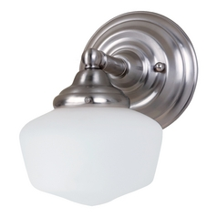 Schoolhouse Sconce Wall Light with White Glass in Brushed Nickel Finish