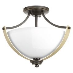 Progress Lighting Noma Antique Bronze with Champagne Accents Semi-Flushmount Light