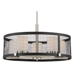 Nuvo Lighting Pratt Black with Brushed Nickel Accents Pendant Light with Cylindrical Shade
