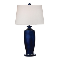 Table Lamp with White Shades in Navy Blue with Black Nickel Finish