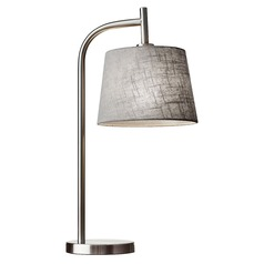 Adesso Home Blake Brushed Steel Table Lamp with Empire Shade