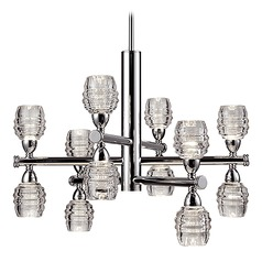 Modern Chrome LED Chandelier with Clear Shade 3000K 4800LM