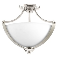 Progress Lighting Noma Polished Nickel with Silver Ridge Accents Semi-Flushmount Light