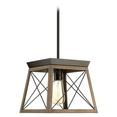 Progress Lighting Briarwood Antique Bronze with Faux-Painted Wood Pendant Light