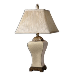 Table Lamp with Silver Shade in Aged Ivory Finish