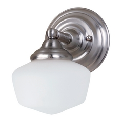 Sea Gull Lighting Schoolhouse Sconce Wall Light with White Glass in Brushed Nickel Finish 44436BLE-962