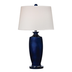 LED Table Lamp with White Shades in Navy Blue with Black Nickel Finish