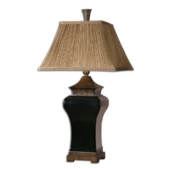 Table Lamp with Brown Shade in Ebony Finish