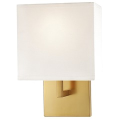 Modern Sconce Wall Light with White Shade in Honey Gold Finish
