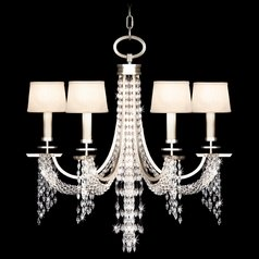 Fine Art Lamps Cascades Warm Silver Leaf Crystal Chandelier