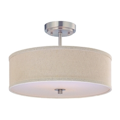 Semi-Flush Ceiling Light with Cream Drum Shade - 16-Inches Wide