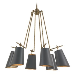 Mid-Century Modern Chandelier Brass / Gold Leaf Jean-Louis by Currey and Company Lighting