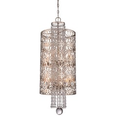 Minka Lucero Florentine Silver Pendant Light with Cylindrical Shade