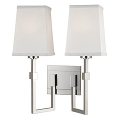 Fletcher 2 Light Sconce Square Shade - Polished Nickel