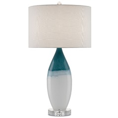 Currey and Company Julien White/blue/polished Nickel/clear Table Lamp with Drum Shade