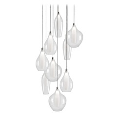 Modern Chrome LED Multi-Light Pendant with Clear and Frosted Shade 3000K 1800LM