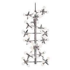 Modern Chrome LED Chandelier with White Opal Shade 3000K 5880LM