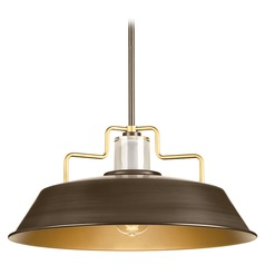 14-Inch Bronze RLM Pendant Light with Bronze Accents by Progress Lighting