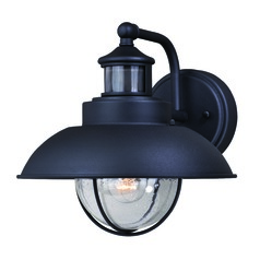 Seeded Glass Outdoor Wall Light Black Vaxcel Lighting