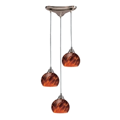 Multi-Light Pendant Light with Brown Glass and 3-Lights