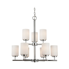 Modern Chandelier with White Glass in Chrome Finish