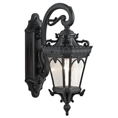 Kichler Outdoor Wall Light with Clear Glass in Textured Black Finish