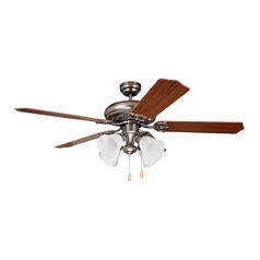 Ceiling Fan with Light with Alabaster Glass in Antique Nickel Finish