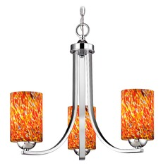 Chrome 3 Light Mini-Chandelier with Circus Glass Shade