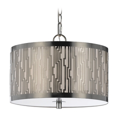 Modern Drum Pendant Light with Beige / Cream Shades in Nickel Finish