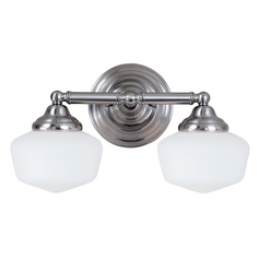Schoolhouse Bathroom Light with White Glass in Brushed Nickel Finish