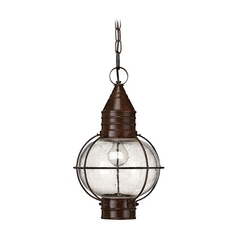 LED Outdoor Hanging Light with Clear Glass in Sienna Bronze Finish