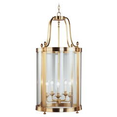 Robert Abbey Blake Antique Brass Pendant Light with Cylindrical Shade
