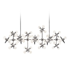 Modern Chrome LED Chandelier with White Opal Shade 3000K 8000LM