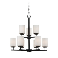 Sea Gull Lighting Modern 9-Light Chandelier with White Glass in Blacksmith