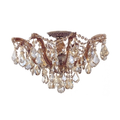 Crystal Semi-Flushmount Light in Antique Brass Finish