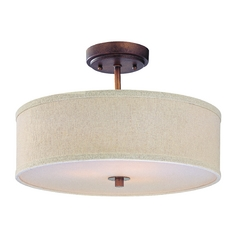 Bronze Drum Shade Ceiling Light - 16 Inches Wide