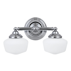 Schoolhouse Bathroom Light with White Glass in Chrome Finish