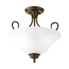 Semi-Flushmount Light with Alabaster Glass in Antique Bronze Finish