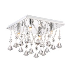 Quoizel Lighting Platinum Crystal Drape Polished Chrome Flushmount Light
