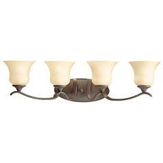 Kichler Bathroom Light with Beige / Cream Glass in Olde Bronze Finish